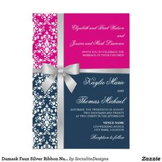 Damask Faux Silver Ribbon Navy Fuchsia Wedding 5x7 Paper Invitation Card