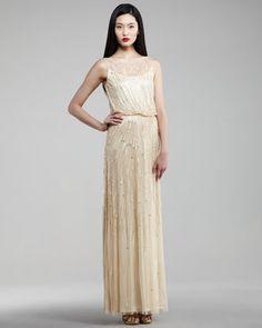 Beaded Blouson Gown - Neiman Marcus. Subtle Art Deco glam for $420!