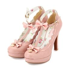 Liz Lisa pumps pink cuteness Shoes ❤ liked on Polyvore featuring shoes, pumps, heels, pink shoes, pink pumps, high heel shoes, pink heeled shoes and bow pumps