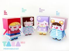 DIY Printable Cutout Dolls Set of 4 DIY Paper Toy by TaraHandmade, $5.70. My god.. could these be any cuter!