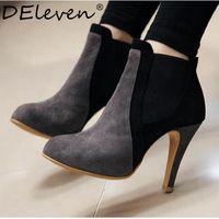 Otoño de moda de marca para mujer roma Bootie Slip On punta redonda zapatos de tacones altos botines botas Chelsea negro colores mezclados gris marrón