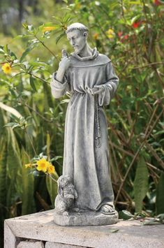 St Francis Garden Statue With Rabbit 24 Stone Outdoor Statues