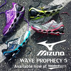 Mizuno Wave Prophecy 5 #runningshoes will help you reach your fitness goals with much more comfort and efficiency. These maximum cushioning shoes provide excellent support from your heel strike all the way through your gait cycle. This hot new shoe is Ideal for runners that want a luxurious feel as they take to the road.  Grab it in these four hot #colorways today!   #runholabird #Mizuno #MizunoRunning #Mezamashii #WhatIfEverybodyRan #MizunoWaveProphecy #Prophecy5 #NewShoes