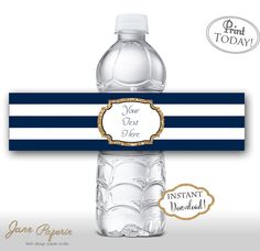 Every little detail has a great impact. Use this water bottle printables and set them up on the drink station table. Our templates are easy to edit in Acrobat Reader. INSTANT DOWNLOAD Navy Blue and Gold Glitter Printable Water Bottle Labels. Find more coordinating printables at JanePaperie: https://www.etsy.com/shop/JanePaperie