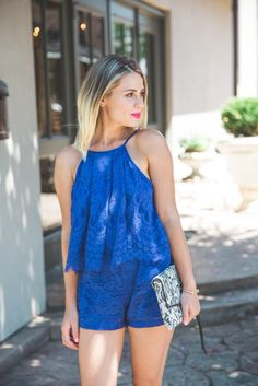 Summer outfit | Blue Lace Romper | Devlin Romper | Summer Romper outfit | Uptown with Elly Brown