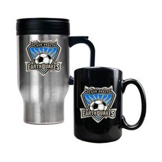 You can drink coffee on the road as well as in your home or office with this MLB officially licensed Stainless Steel Travel Mug and Ceramic Mug combo set. Description from tritoo.com. I searched for this on bing.com/images