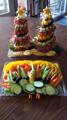 Appetizer trees and Turkey veggie platter. Super easy to make!