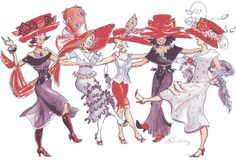 Animated Gif by JoanBlalock Red Hat Club, Red Hat Ladies, Red Hat Society, Lady In Waiting, Art Archive, Pink Hat, Illustrations, Red Hats, Girl With Hat