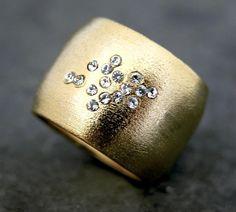 April Birthstone Ring, Diamond Ring, Diamond 14K Gold Band, Wide ...