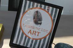 Thumbprint art for police theme birthday