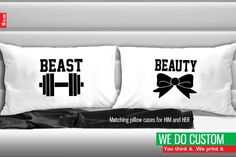 His & Hers Matching Couple Pillowcases - Beauty and Beast Pillow Covers