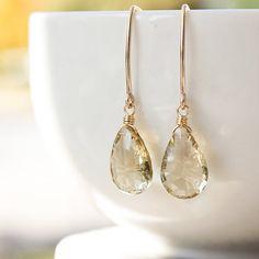 Gold Champagne Citrine Gemstone Earrings - November Birthstone Earrings - 14K GF