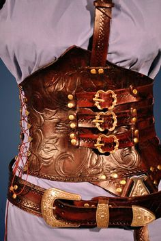 Custom Made Red Leather Corset Armor by http://www.custommade.com/by/raggededgeleather/