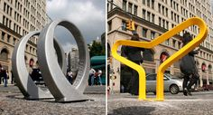 Recently a fresh crop of innovative bike racks sprung up at Astor Place in New York, and was on the scene to document the affair with some great photos! Rack Design, E Design, Bicycle Stand, Places In New York, Bike Rack, Design Competitions, Great Photos, Innovation, Nyc