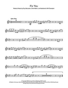 Coldplay: Fix You FLUTE I know this is on flute but it looks like a good website: