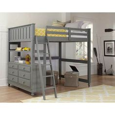 ★ Buy our Lakehouse Stone Finish Loft Bed ★ The 2045 full size NE Kids Loft Bed includes a built-in dresser to make the most out of your child's bedroom ★ Complete selection of Lakehouse beds at Kids Furniture Warehouse Bunk Bed With Desk, Bunk Beds With Stairs, Cool Bunk Beds, Kids Bunk Beds, Bed With Drawers, Desk Bed, Loft Bed Frame, Full Bed Loft, Full Size Bunk Beds