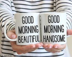 Etsy Finds / Handmade Things / Etsy Handmade / Handmade Products / Etsy / Personalized Gifts / Unique Gifts / One Of A Kind Gift / I Love You / Good Morning Beautiful / Good Morning Handsome / Valentine's Day Gift Ideas / Gift For Her / Gift For Him / Gifts For Couples / Personalized Mug / Valentines Mug:  Etsy Finds :: Feb 7, 2017: K-I-S-S-I-N-G