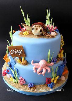 Sea Cake with Turtle Cake Topper Ocean Cakes, Beach Cakes, Cupcakes, Cupcake Cakes, Aquarium Cake, Finding Nemo Cake, Gateaux Cake, Novelty Cakes, Love Cake