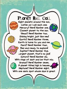 Our Solar System 8 Planets poem! A great way for kids to learn the order of the planets in our solar system! Space Activities, Science Activities, Science Diy, Science Space, Solar System Activities, Science Poems, Solar System Crafts, Solar System Projects For Kids, Planets Activities