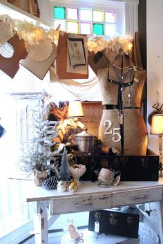 Common Ground: Inspiration from Pheona's Vintage Market.Love the rag garland with lights! Christmas Open House, Christmas Love, Vintage Christmas, Christmas Crafts, Christmas Decorations, Holiday Decor, Christmas Displays, Nordic Christmas, Christmas Ideas