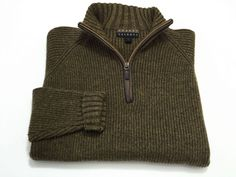 Robert Talbott L Green Brown Merino Wool 1/2 Zip Sweater Large Elbow Patches #RobertTalbott #12Zip