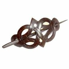 Celtic Weave Carved Coconut Wood Hair Pin Barrette Beauty