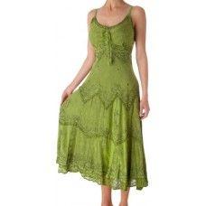 Stonewashed Rayon Embroidered Adjustable Spaghetti Straps Dress $31.99