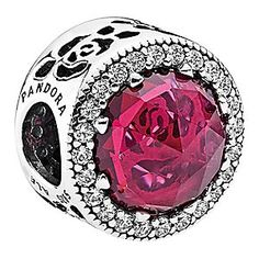 Belle Enchanted Rose Sparkling Charm by PANDORA | Disney Store Romance is always on hand with this Enchanted Rose Charm by PANDORA. A faceted pink jewel is surrounded by sparkling cubic zirconia on this sterling silver <i>Beauty and the Beast</i> addition to your PANDORA bracelet.