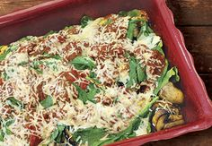 A variety of fresh grilled vegetables, baked in a homemade tomato sauce with fresh spinach and cheese.