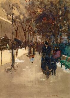 Arthur Melville--A Street Scene in Paris, a Wet Sunday Afternoon, 1889 (88 pieces)
