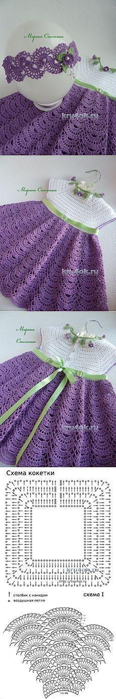 Crochet Child Costume A set for a lady – the work of Marina Stoyakina – crochet on Crochet Baby Dress Crochet Dress Girl, Crochet Girls, Crochet Baby Clothes, Crochet For Kids, Free Crochet, Knit Crochet, Baby Patterns, Knitting Patterns, Crochet Patterns