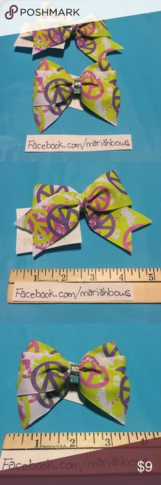 """Peace Hair Bow Bundle (2) green pink white splattered hair bows with green pink purple peace signs  Handmade by me One bow is about 5"""" The other is about 3 1/2"""" Accessories Hair Accessories"""