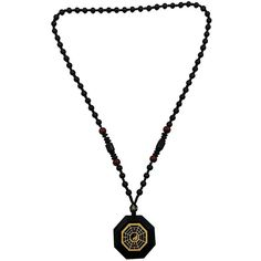 20 inch stone Obsidian Eight Diagrams Yin and Yang Pendant Necklace... ($88) ❤ liked on Polyvore featuring jewelry, stone pendant necklace, pendant necklace, stone jewellery and stone jewelry