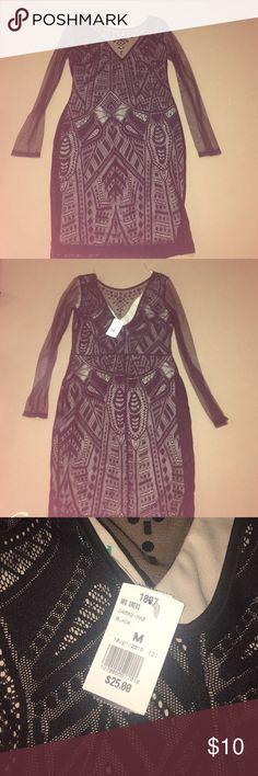 Black dress Black dress- mesh sleeves, sequin design on neckline. Never worn ✨discount for bundling ✨ Dresses Long Sleeve