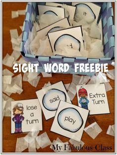 Sight Word Snowball FREEBIE and lots of other winter ideas for a Kindergarten classroom.