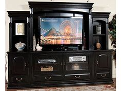 Black wood entertainment center tv wall unit red white fever 6 piece all about gs kids Black Entertainment Centers, Entertainment Center Wall Unit, Home Entertainment, Cool Tv Stands, Black Walls, Furniture Deals, Wooden Furniture, Bedroom Furniture, Built Ins