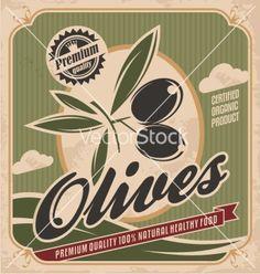 Retro olive poster design vector 1521358 - by Lukeruk on VectorStock®