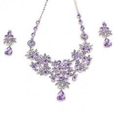 Water Drop Crystal Flower Necklace Earrings Jewelry Set