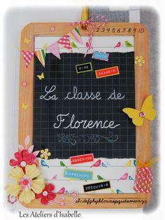 Ardoise, cadeau personnalisé maîtresse. Fleurs, papillons, oiseaux et bannière