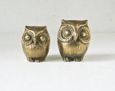 Brass Owls Paperweight  Shelf Decor  Owl Figurines by BeeJayKay, $18.00
