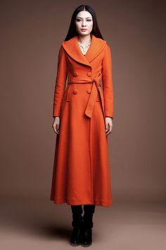 Long Wool Coat in Orange