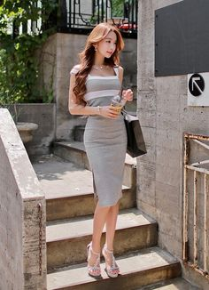The Dressing Loft Gray Party Pencil Dress @Looksgud.in #TheDressingLoft #Gray #Dress