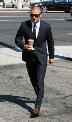 Even getting coffee that man is fine! David Beckham