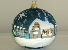 hand painted Christmas ornaments glass ball by aniamelisa on Etsy, $19.50