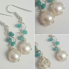 Russian Amazonite and Shell Pearl Cabochon silver plated drop earrings by YouNiqueYou on Etsy