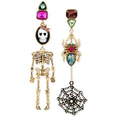 Betsey Johnson Tri-Tone Cameo Skeleton and Spider with Web Mismatch... ($55) ❤ liked on Polyvore featuring jewelry, earrings, multi, earring jewelry, betsey johnson jewellery, betsey johnson earrings, skeleton jewelry and betsey johnson