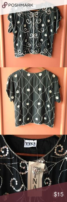 Vintage crop top NWT vintage sequin cropped top will look really cute with high waisted shorts. Has clasps on the front to close. This top is is perfect condition! ❌NO TRY ON Tops