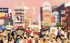 Tokyo on Behance Art And Illustration, Illustrations And Posters, Aesthetic Desktop Wallpaper, Mac Wallpaper, Posca Art, Wow Art, Cute Wallpapers, Vintage Desktop Wallpapers, Aesthetic Art