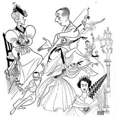 """Helen Hayes in the """"Happy Journey"""", Host Alastair Cooke, Todd Llender, Yvonne Mounsey and Patricia in the New York City ballet's production of """"The Five Gifts"""", and her Majesty Queen Elizabeth II in coronation dress...by Al Hirschfeld"""