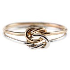 Double Knot Ring Sterling Silver/14K Yellow Gold-filled